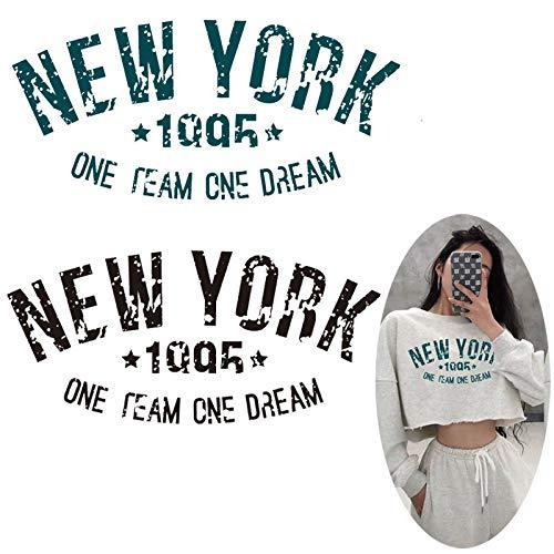 PMSMT Tendencia con Letras de Nueva York, Transferencia de Calor para Ropa de niñas, Parches de Equipo de Hierro en Apliques, Pegatinas con Nombre de Banda, Parches de Camiseta