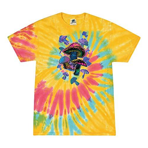 Flying Mushrooms Retro LSD Shrooms Tie Dye   Mens Pop Culture Graphic Tie-Dye T-Shirt, Aurora, Large