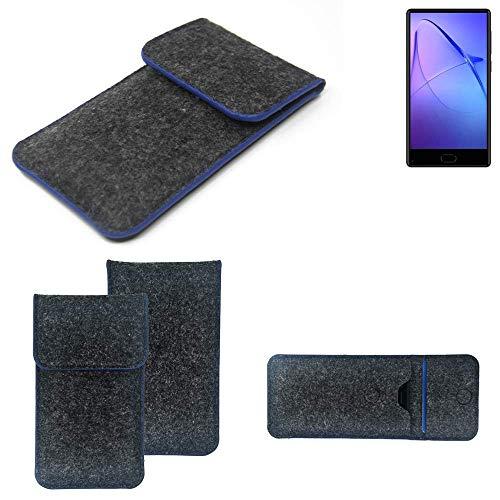K-S-Trade Filz Schutz Hülle Für Leagoo KIICA Mix Schutzhülle Filztasche Pouch Tasche Hülle Sleeve Handyhülle Filzhülle Dunkelgrau, Blauer Rand