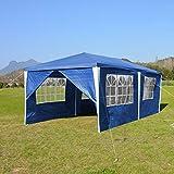 wolketon Pavillons 3x6 m Partyzelt Gartenpavillon mit 6 Seitenwänden 100G PE Blau Gartenzelt für Garten/Party/Hochzeit/Picknick/Markt