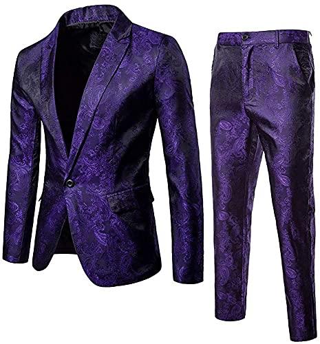 Traje para Hombre, Ajustado, 2 Piezas, Conjunto, 1 botón, Chaqueta, Esmoquin y Pantalones, Ajuste Regular, Vestido sólido, Negocios, Fiesta de Boda (Purple,XXL)