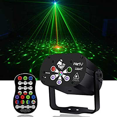 Lights Music Show DJ 128 Combinations Christmas Indoor 6 Lens 4 Color RGB Decoration Light Blue LED Remote Control Stage Lighting Sound Activated Party House Xmas Gifts