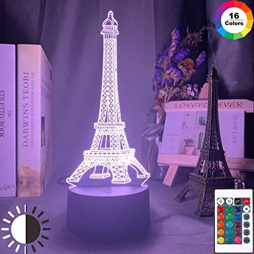 Sanzangtang LED-nachtlampje, 3D-vision-zeven-kleurenafstandsbediening - nachtlampje van Parijs, aangeleid door de fantoom van de Eiffeltoren jongens, nachtlampje