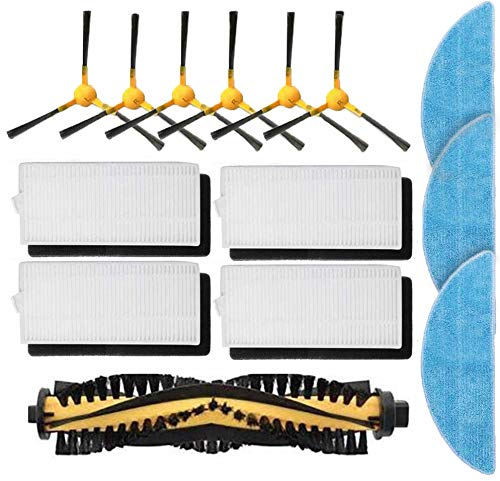 Doremi 14 Stück Zubehör für Tesvor X500/Tesvor X500 Pro/X18-1/Tesvor M1, 6 Seitenbürsten, 1 Rollenbürste, 4 Filter, 3 Wischtücher, Ersatzteile für Tesvor X500/Tesvor X500 Pro/X18-1/Tesvor M1