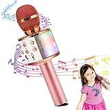 HALOVIE Microfono Inalámbrico Karaoke, Micrófono Karaoke Bluetooth Portátil con Altavoz y Luces LED para Niños Canta Partido Musica Reproductor Compatible con Android/iOS PC AUX Smartphone