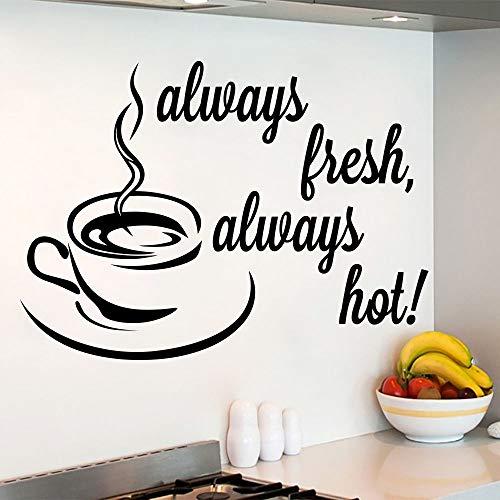 PMSMT Zitat Wandtattoos Immer frische Aufkleber Kaffeetasse Aufkleber Küche Cafe Dekor