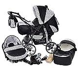 Baby Sportive - Sistema da viaggio 3-in-1 (carrozzina, seggiolino auto e passeggino), con accessori, colore: Nero a pois