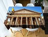 Yqgdss Templo del Panteón Romano Antiguo Mantel 3D Mantel De Poliéster Imprimible Impermeable Y A Prueba De Polvo Utilizado para La Cena Cocina Vacaciones Taberna Jardín Al Aire Libre