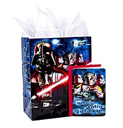"Hallmark 13"" Large Star Wars Gift Bag with Birthday Card and Tissue Paper (Darth Vader, Boba Fett, S"