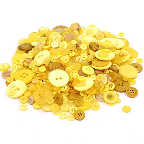 TangTanger 600+ Pcs Assorted Size Resin Buttons 2 and 4 Holes Round Craft for Sewing DIY Crafts Children's Manual Button Painting (Yellow)