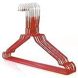Hangerworld 20 Perchas 40cm Metal Rojo Galvanizado Ahorra Espacio Camisas Muescas para Tirantes