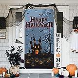 Decoraciones de Pancartas de Halloween, Grande Tela Pancarta Decoraciones de Porches, Happy Halloween Banner Decoraciones, Carteles de Halloween para Puertas de Entrada o Decoración de Interiores