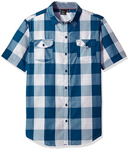 Burnside Men's Detractor Short Sleeve Button Up Printed Shirt, Checkard Blue, X-Large