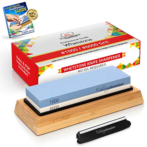 Whetstone Knife Sharpening Stone: 2-Sided Knife Sharpener Set,...