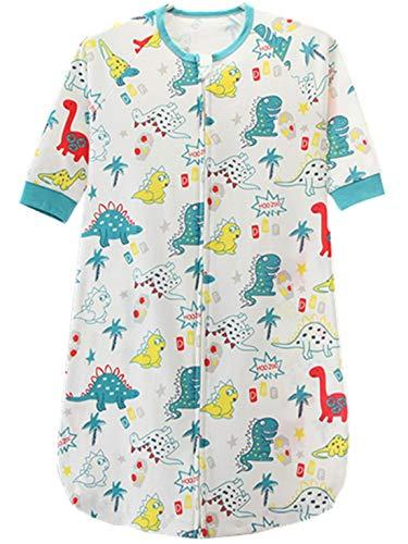 Chilsuessy Baby Sommer Schlafsack Unwattiert Babyschlafsack 1 Tog Sommerschlafsack aus 100% Baumwolle Kinder Pyjama Schlafanzug, Dino, S/Baby Hoehe 65-75cm