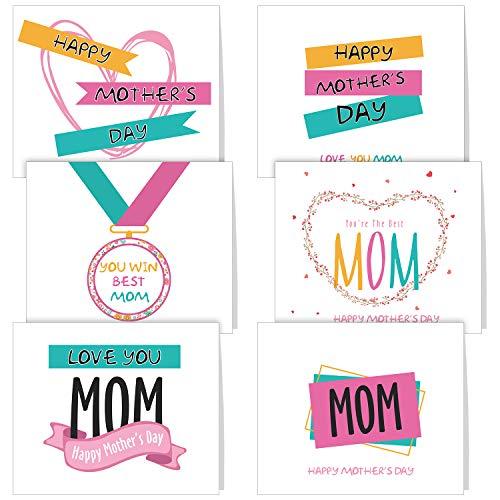 TUPARKA 36 PCS Tarjeta del día de la madre con sobres, 6 diseños únicos surtidos para el día de la madre