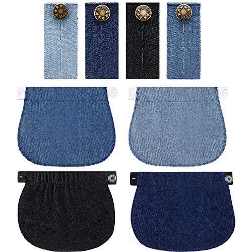 8 Pièces Extension Pantalon de Maternité Rallonge Boutons de Pantalon Élastique Extension de Ceinture Réglable pour Grossesse Femmes Hommes Jeans Pantalons