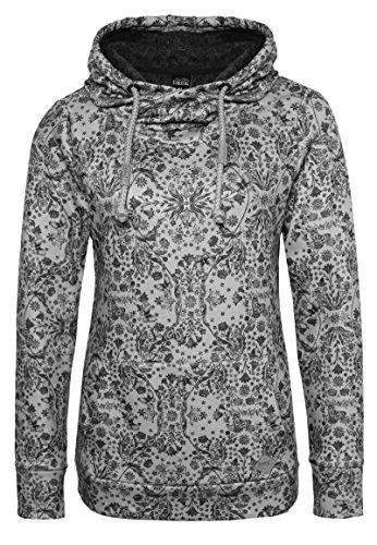Sublevel Damen Sweathoodie mit Allover-Blumen-Print und weichen Innenfleece | Sportlich-Eleganter Kapuzenpullover Light-Grey M