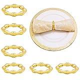 NAGU Napkin Rings Set of 6 - Super Clean Bamboo Shoot Style Napkin Holder Rings for Home T...