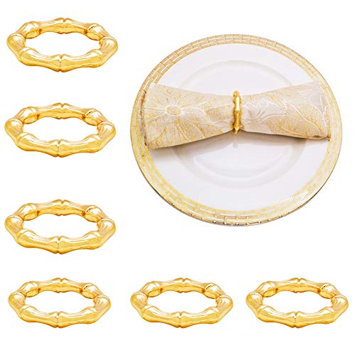NAGU Napkin Rings Set of 6 - Super Clean Bamboo Shoot Style Napkin Holder Rings for Home Table Setting, Kitchen, Dining Room, Dinner Parties, Luncheons, Picnics, Weddings, Christmas - Golden Color