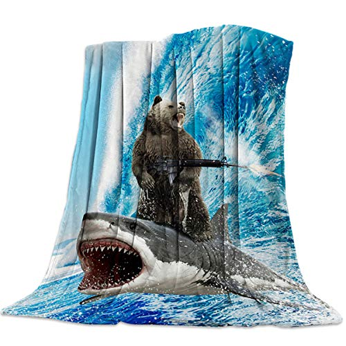 Flannel Fleece Throw Blanket 60x80 inch Funny Bear Shark Surfing Reversible Soft Cozy Bed Blanket Creative Pattern Microfiber Fluffy Lightweight Throw Blanket for Bed Couch Sofa Chair