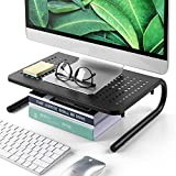 LORYERGO Monitor Stand Riser - Metal Monitor Stand with Vented Holes, Desktop Computer Monitor Riser...