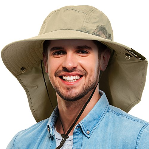 Tirrinia Mens Wide Brim Sun Hat with Neck Flap Fishing Safari Cap for Outdoor Hiking Camping Gardening Lawn Field Work, Olive