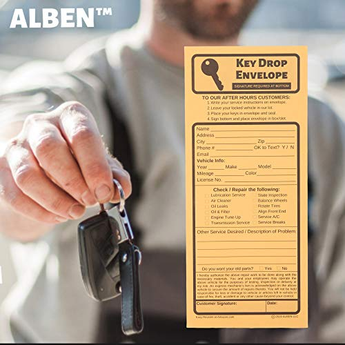 Key Drop Envelopes for After Hours – Auto Shop Repair or Service Peel & Seal Drop Box Envelopes - Automotive Mechanic Night Drop Off, Overnight or Early Bird, Kraft Paper, 4 1/8 x 9 1/2 (50) Photo #5