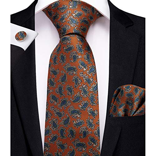 WOXHY Cravate Homme Mode Paisley Cadeau Soie Cravate Mouchoir Boutons de Manchette Affaires Mariage fête Cravate Ensemble