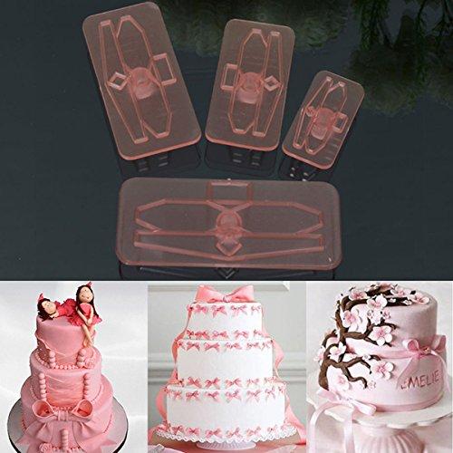 4 pcs Plastique Bow gâteau Cutter Moules glaçage Cookie Biscuit Fondant Embosser Craft