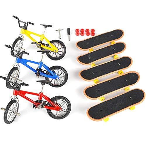 Angelliu aleación Mini Bicicletas y Mini Kit monopatín, Juguetes del Dedo para los niños y Regalo