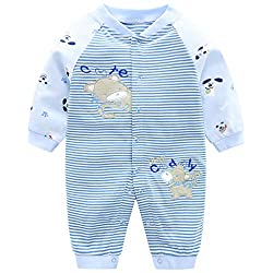 100% cotton fabric, high quality and brand new. Popper buttons from the neckline to the ankle, for easy dressing and diapers changing. Striped romper with cute patterns, ribbed cuffs and collar. Suitable for baby boys and girls. Recommended for daily...