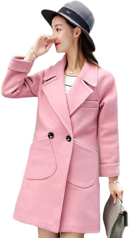 Keaac Women's Winter Double Breasted Laple Long Wool Overcoats Trench Coat