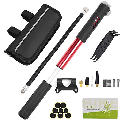 Mini Bomba para Bicicleta 120 PSI Kit de Reparación de Bicicletas Para Presta Y Schrader para Carretera Bicicletas de Montaña Y Pelota, con Adaptador de Boquilla, Aguja de Bola, Boquillas de Aire