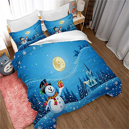 GenericBrands bedding comforter sets Moon snowman-200x200cm Quilt Duvet Cover with Zipper Closure 3 Pieces Hypoallergenic Soft Microfiber Bedding Set with 2 Pillowcases