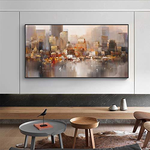 Frameloos Abstracte foto stad regen landschap gebouwen canvas schilderij kunst aan de muur foto's voor woonkamer slaapkamer nachtkastje <> 50x75cm