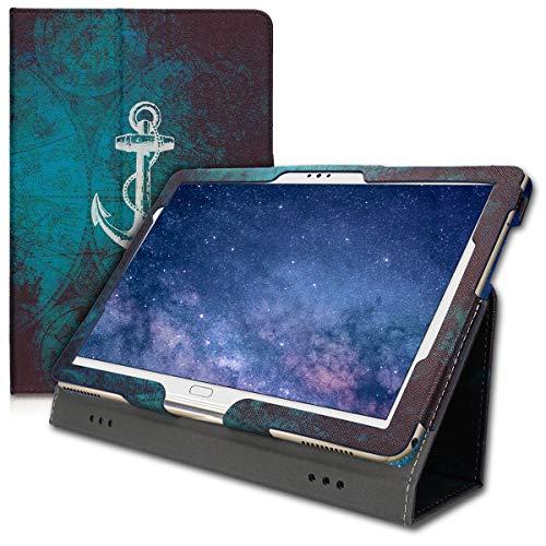 kwmobile Custodia Compatibile con Huawei MediaPad M5 Lite 10 - Cover Tablet con Supporto - Copertina in Pelle PU Smart Case con Stand - Ancora Bianco/Blu