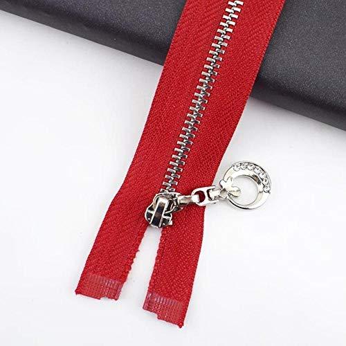 Meetee 2 / 5pc 3# Cierre de cremallera de metal 20 / 30cm Extremo abierto 40-70cm para bolsas de coser Cgarment Purse Cierre automático Zip Material de bricolaje-Rojo, 5pcs, Open-End-50cm