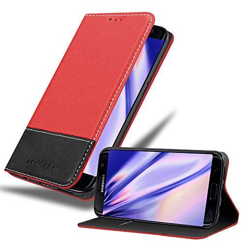 Cadorabo Funda Libro para Samsung Galaxy S7 Edge en Rojo Negro - Cubierta Proteccíon con Cierre Magnético, Tarjetero y Función de Suporte - Etui Case Cover Carcasa