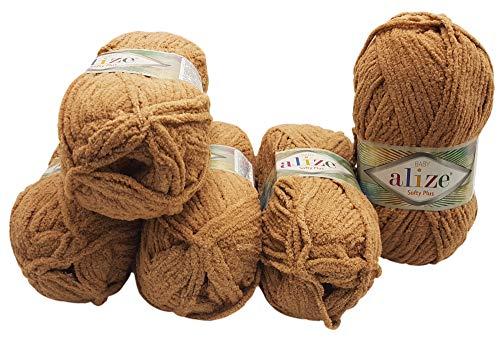 Softy Plus 5 x 100 Gramm Alize Strickwolle, Babywolle, 500 Gramm Wolle mit leichtem Plüsch (braun 199)