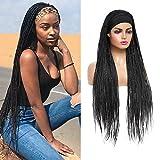 ROSEBONY Headband Wig Box Braided Wigs for Black Women Micro Braids Long Wigs Synthetic Heat Resistant Fiber Black Wig