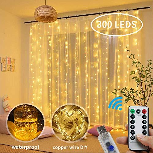 Luz Cadena Luz de Cortina USB,3 * 3 Metro 300 LED Cadena de