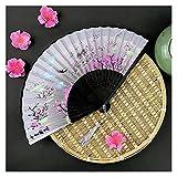 abanico plegable Mano pliegue el ventilador de dibujos animados de bambú de madera flor de seda japonés estilo chino artificial pai weddding niña hombre danza decorar casero ( Color : Silk cloth 02 )