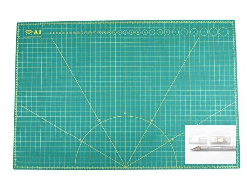 Snijmat + cutter + 5 reservemesjes, snijmat zelfherstellend, aan beide zijden bedrukt 60 x 90 cm voor A1, 45 x 60 cm voor A2, 30 x 45 cm voor A3 -formaten