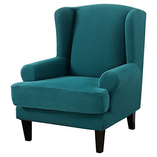 Hoomall Ohrensessel Schonbezug Elastische Sesselbezug Sesselüberwurf Stretch Schutzhülle Einfarbige Sofabezug Husse für Ohrensessel(Gestrickt-dunkelgrün,70-80 cm)