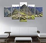 Pintura sobre Lienzo Arte de la Pared Imagen 5 Piezas Cartel Decoración para el hogar Paisaje De Las Montañas Andinas Cuadro/150x80cm