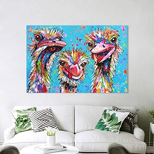 Vrolijk Schilderij Wall Art Canvas Schilderij Struisvogel Manie Dier Foto Prints Home Decor C 40x60cm Geen lijst
