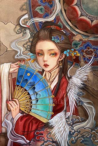 Pintura por números para adultos y niños – Hermosa chica sosteniendo un ventilador – DIY pintura digital por números Kits en lienzo