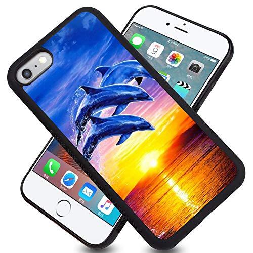 FAUNOW Carcasa para iPhone 6/6S Plus, color negro, diseño de delfín Sunset
