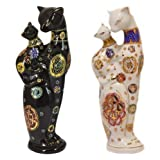 Feng Shui Two White Cats - Hand Crafted and Decorated Chinese Porcelain,Figurine D090113. (White)